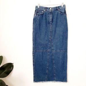 Ralph Lauren Jeans Denim Raw Hem Maxi Skirt 617